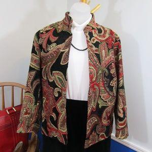 Red And Black Brocade/Velvet Open Front Jacket